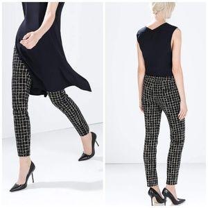 Zara Woman Printed Skinny Leggings with Side Zip